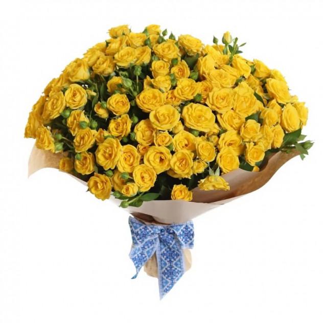 Букет из 21 кустовой желтой розы